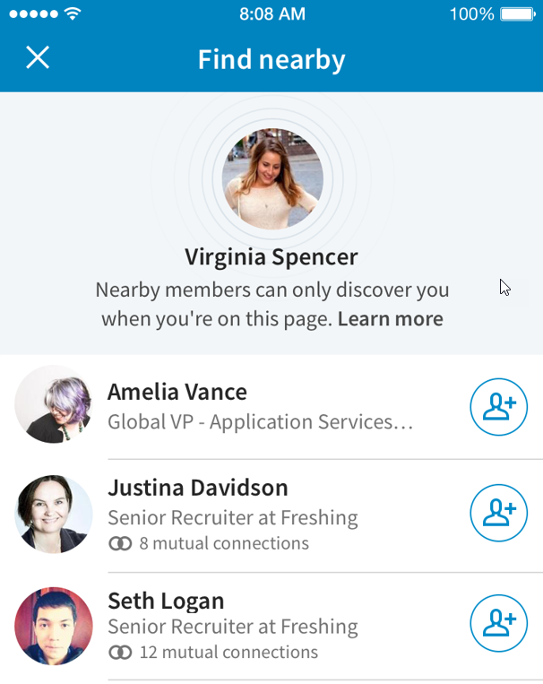 Very cool feature by linked in that allows you to auto add people in your direct vicinity.