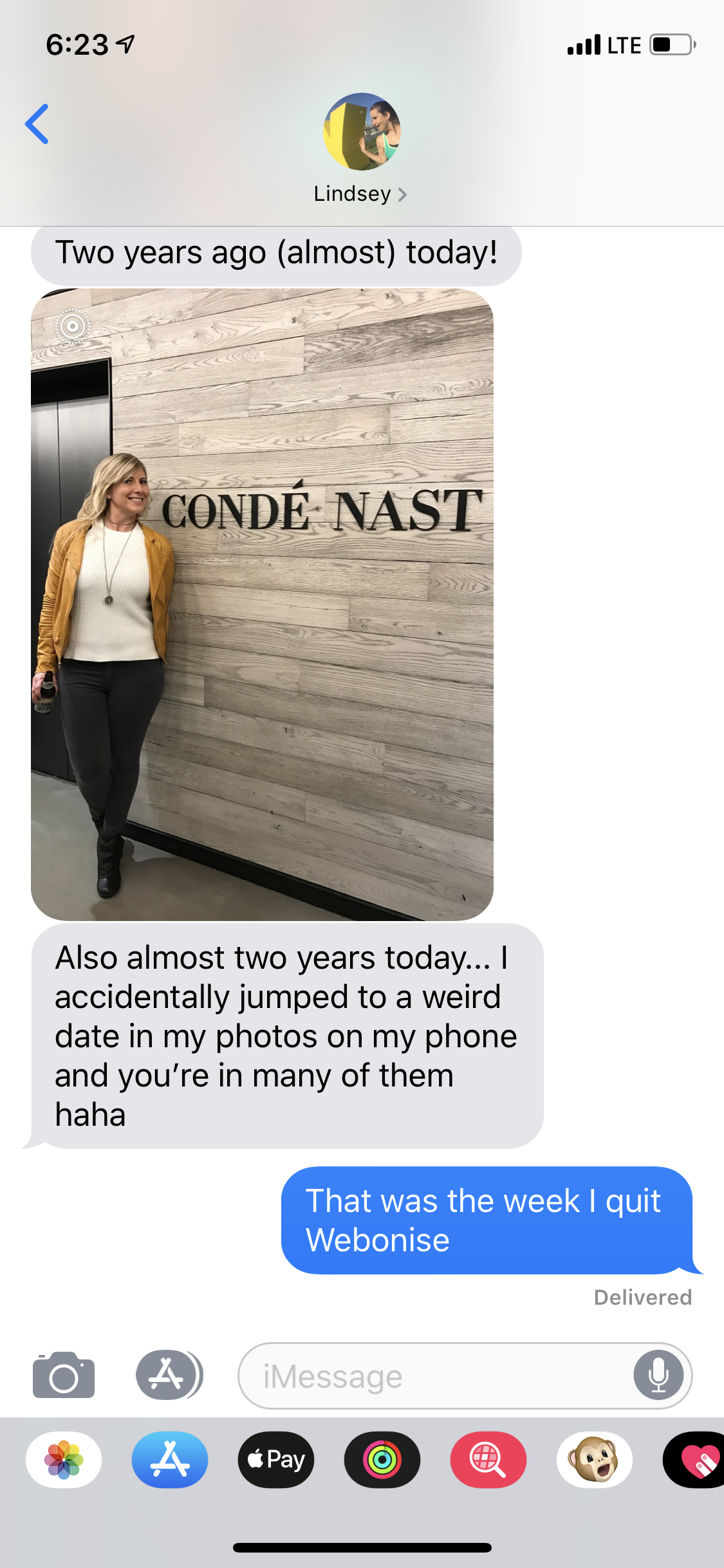 A recent text with Lindsey remembering that day 2 years ago