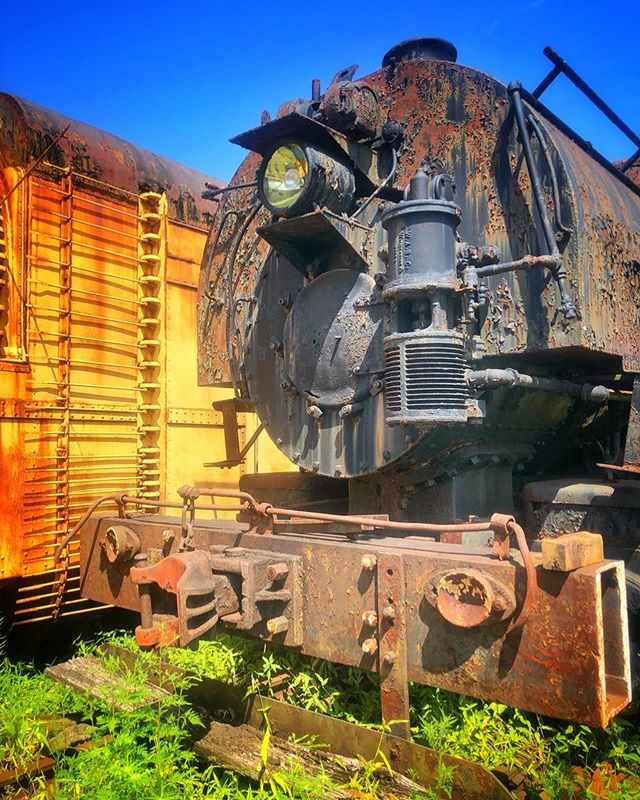 Abandoned roadside train collection. Looks like it was once a museum. #geigertowncentralrailroad