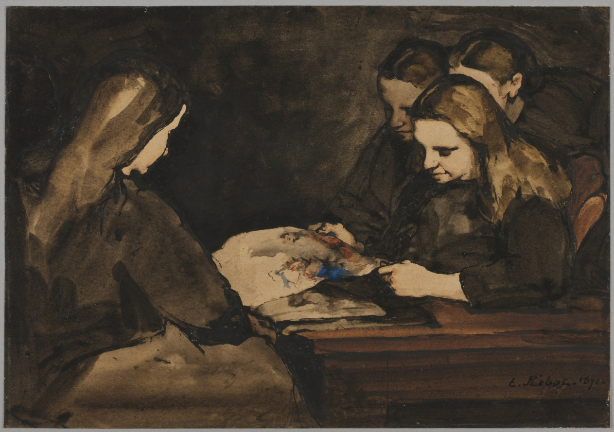 Four Girls Studying a Drawing, 1876, Theodule Ribot