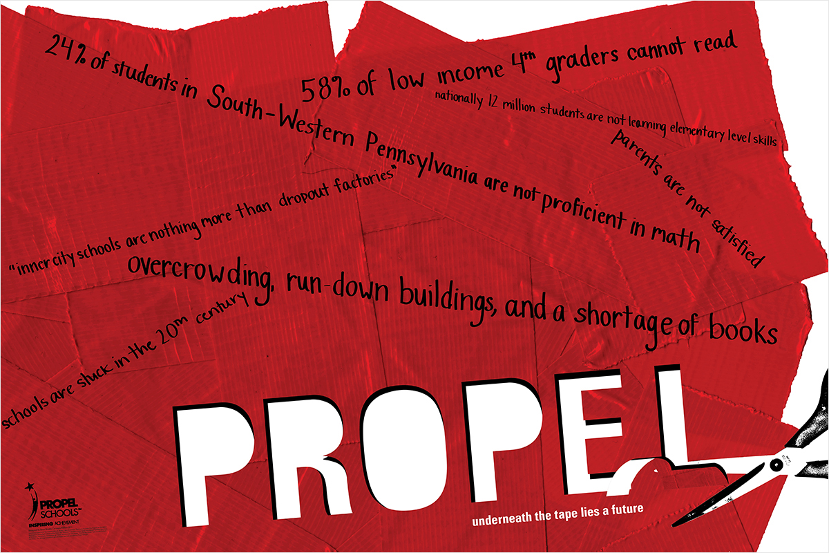The poster symbolizes the work Propel Schools has done to cut through bureaucracy to open their schools
