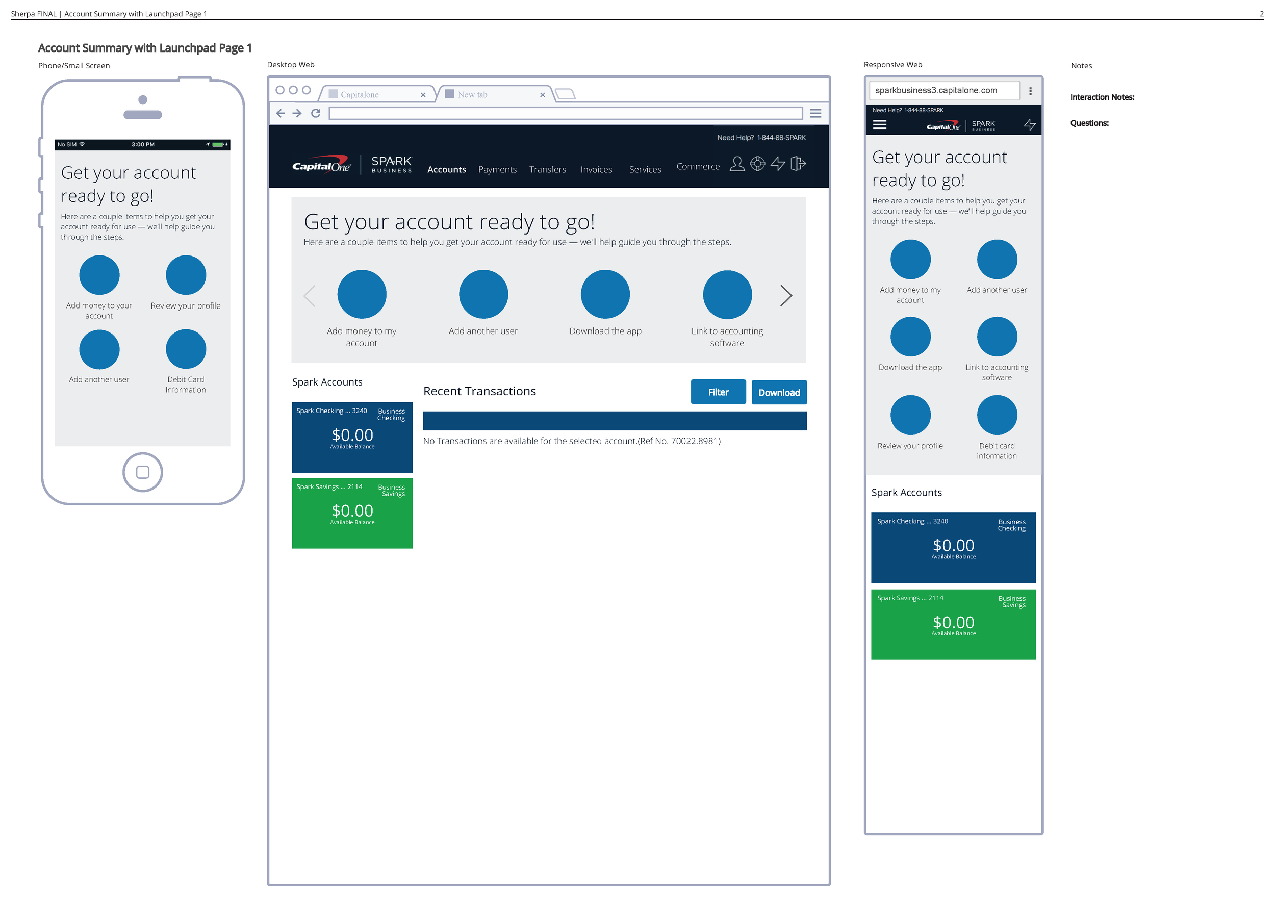 """The onboarding """"space"""" is the grey box in under the header on each device. It was important that the onboarding space could be within the application but as a standalone widget. This project specifically focused on creating this space on the homepage and linking to key tasks, but it depended on existing task flows owned by other teams"""