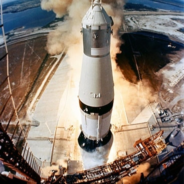 The huge, 363-feet tall Apollo 11 (Spacecraft 107/Lunar Module S/Saturn 506) space vehicle is launched from Pad A, Launch Complex 39, Kennedy Space Center (KSC), at 9:32 a.m. (EDT), July 16, 1969. Onboard the Apollo 11 spacecraft are astronauts Neil A. Armstrong, commander; Michael Collins, command module pilot; and Edwin E. Aldrin Jr., lunar module pilot. Apollo 11 is the United States' first lunar landing mission. Photo Credit: @nasa  #apollo50