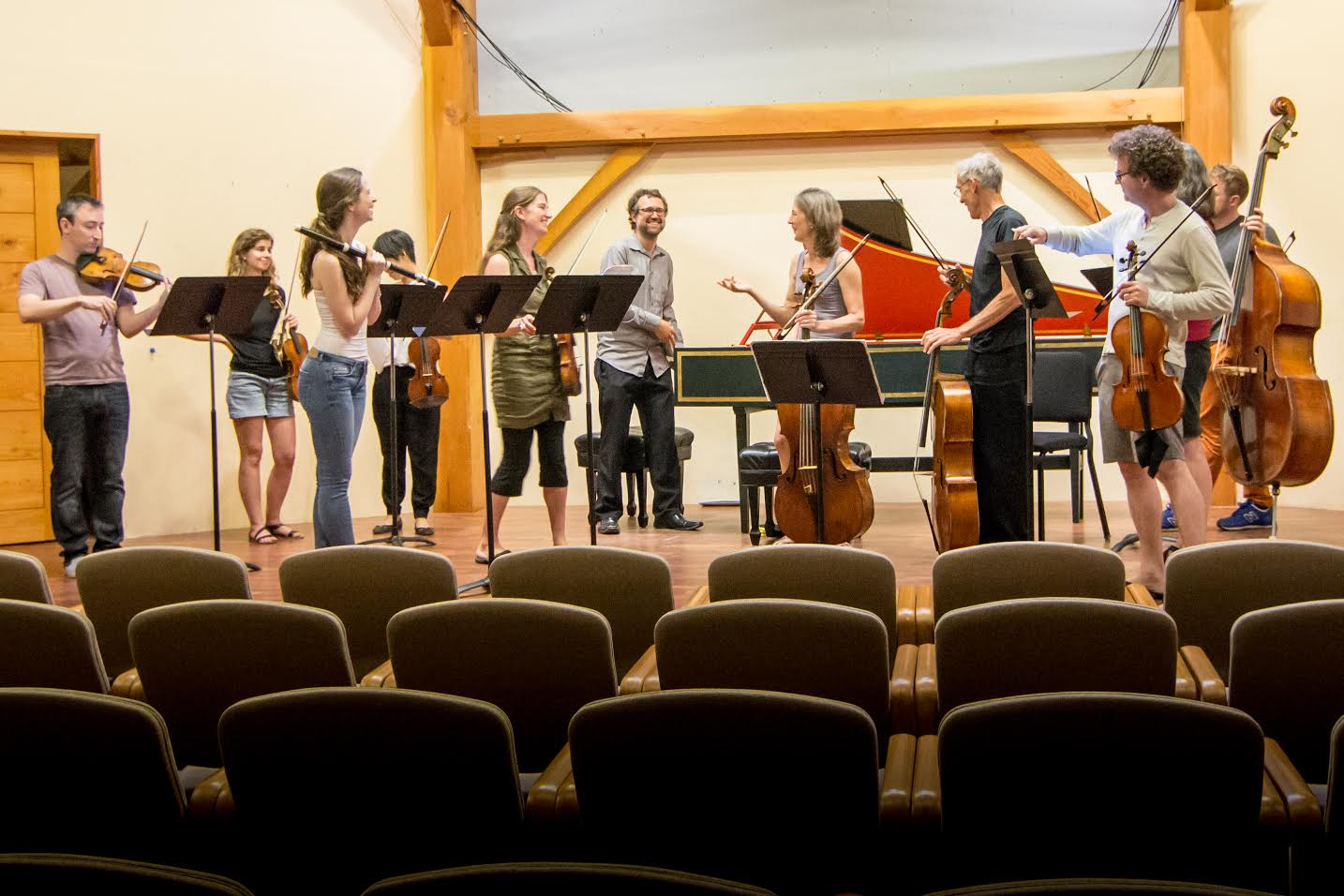 Sarasa rehearsing before their concert in July at the Big Barn in Putney, VT