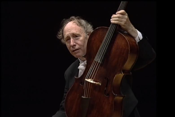 Anner Bylsma with his five-string piccolo cello.