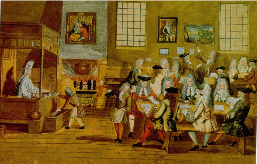 An English coffee house, (courtesy of The British Library)
