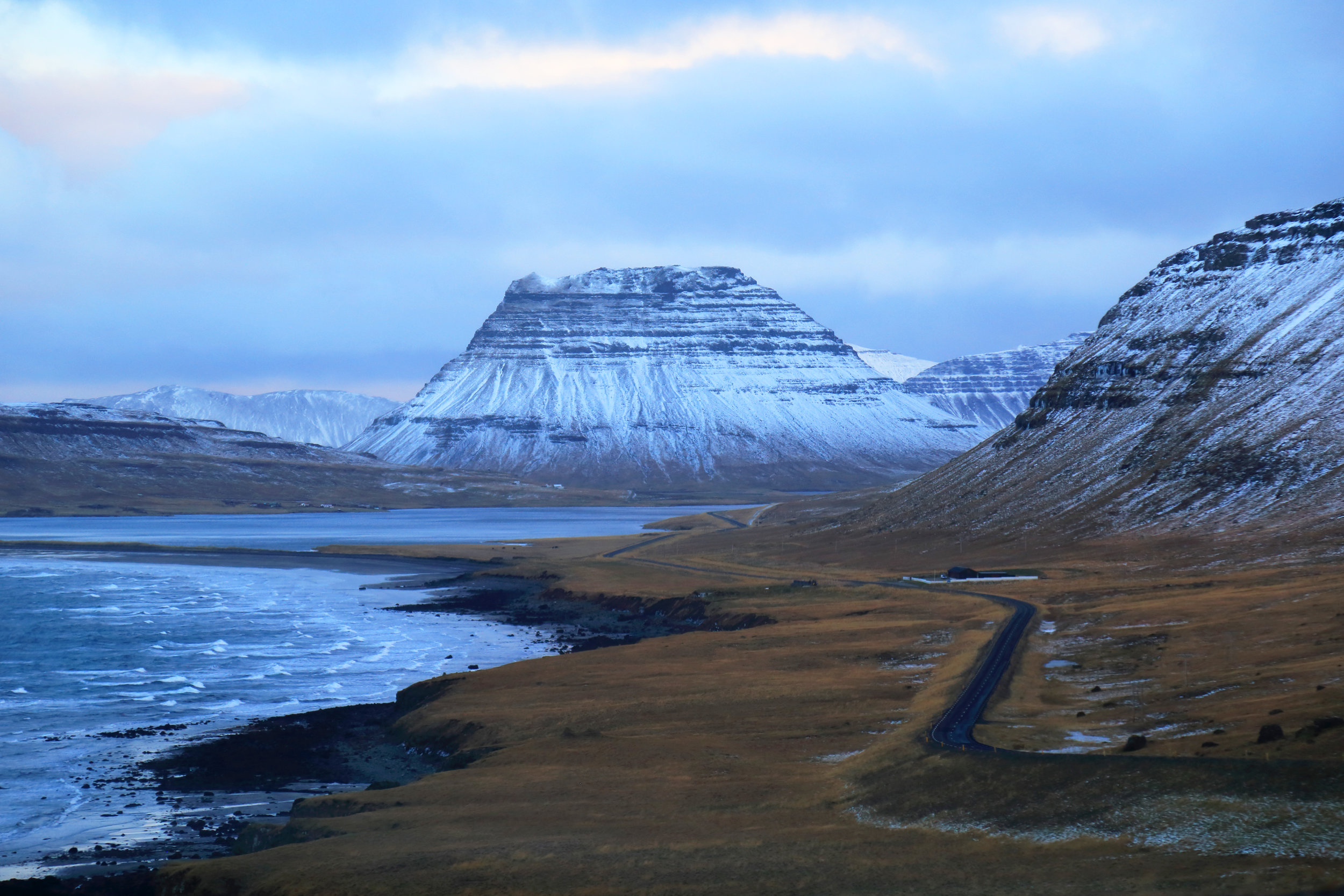 Driving towards Kirkjufell on the Snæfellsness Peninsula