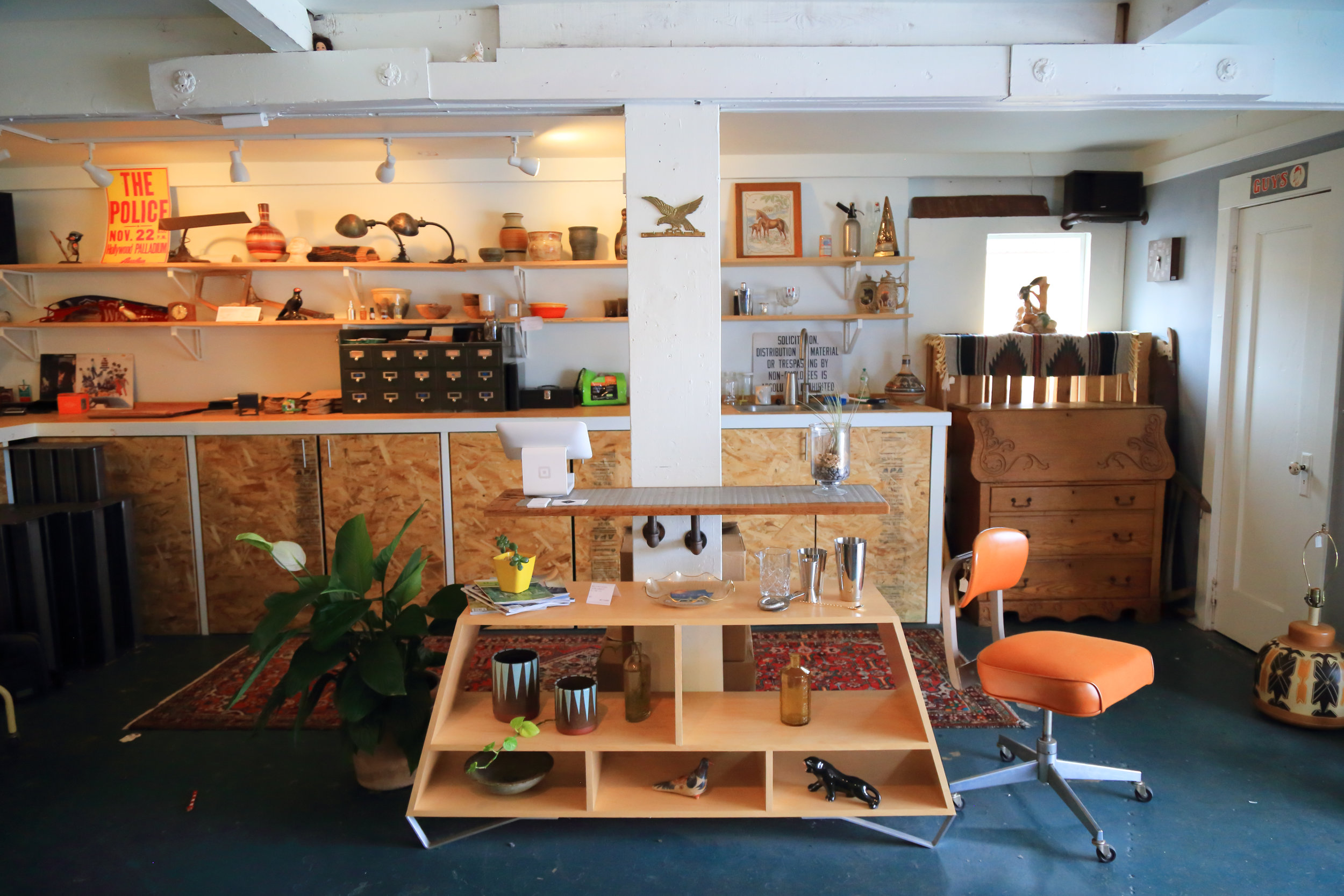 Built-in workshop blends into the rest of the room