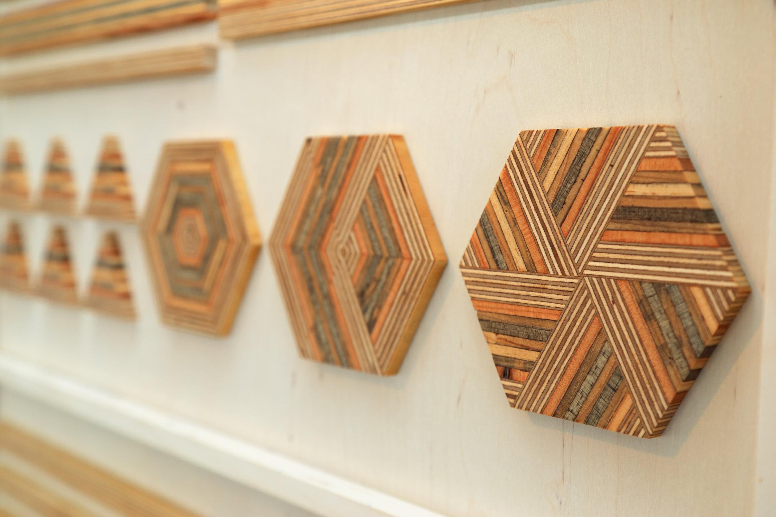 Wooden hex tiles