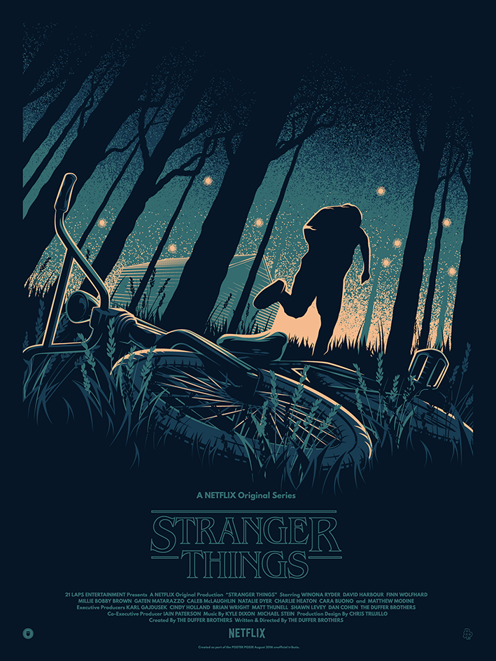 Poster Posse have come up with three Stranger Things posters already, and this one, by Thomas Walker AKA TommyPocket Design, is by far and away our favourite.