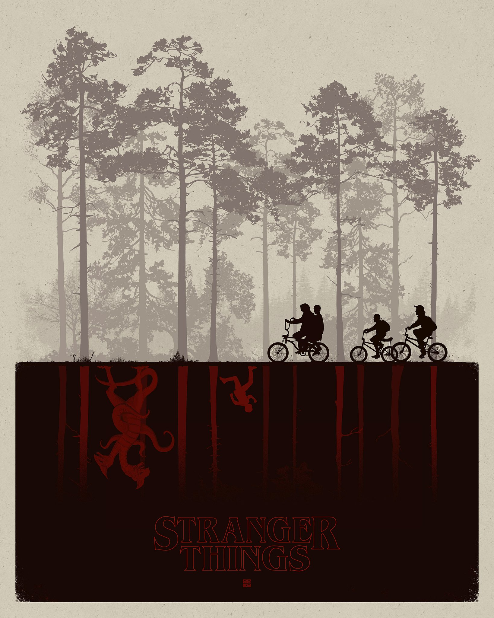 Matt Ferguson's poster also illustrates the two worlds of Stranger Things: the real world and the Upside-Down.