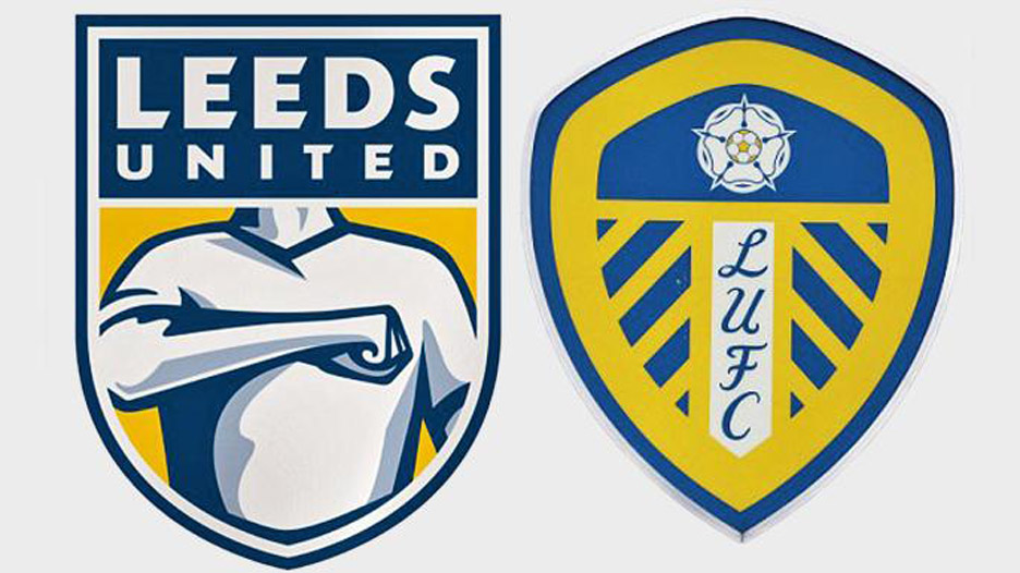 The 'new' design compared with the existing crest