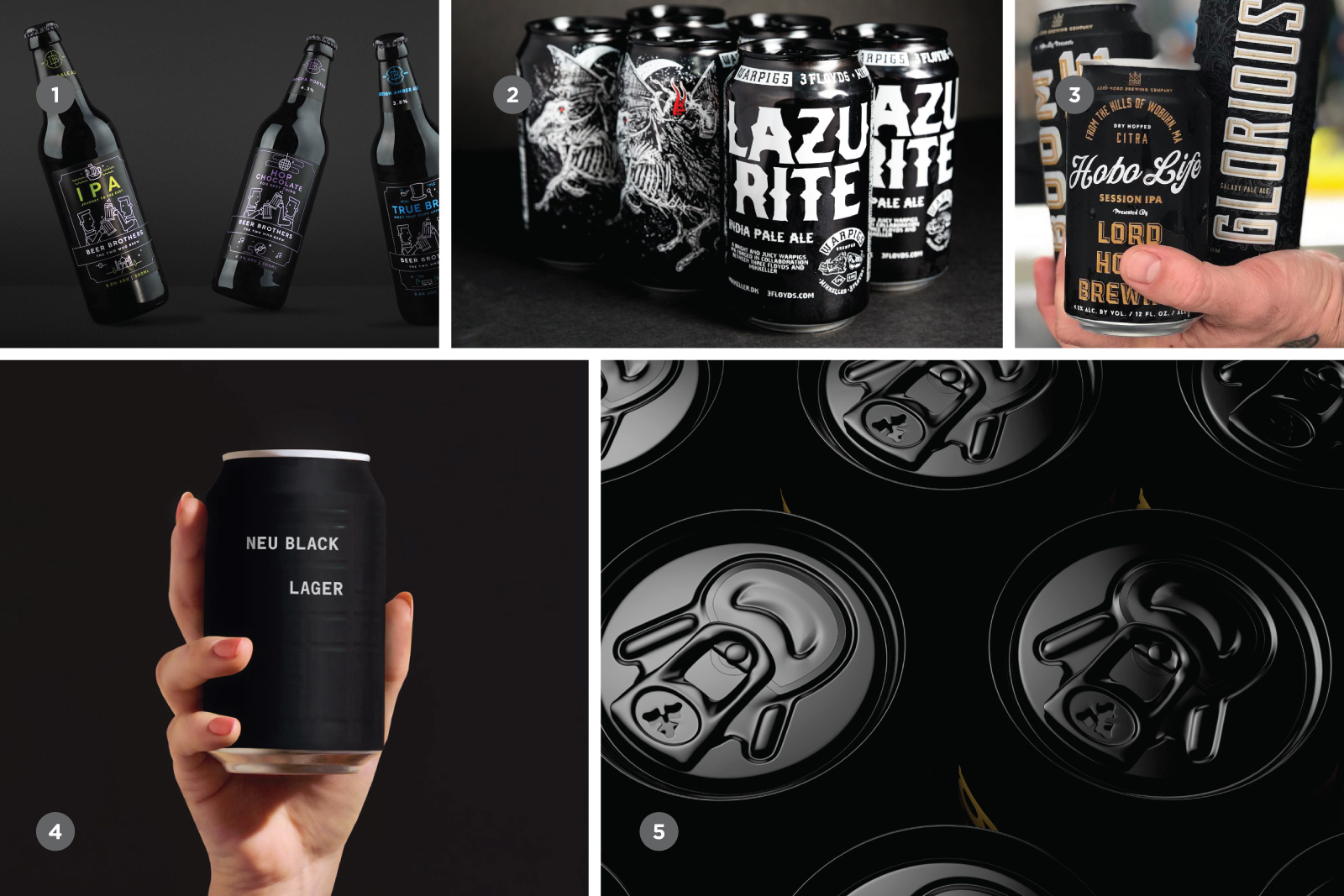 Some examples include 1. Beer Brothers, 2. WarPigs Brewing, 3. Lord Hobo Brewing, 4. And Union, 5. Carlsberg. Source:  Codo Design
