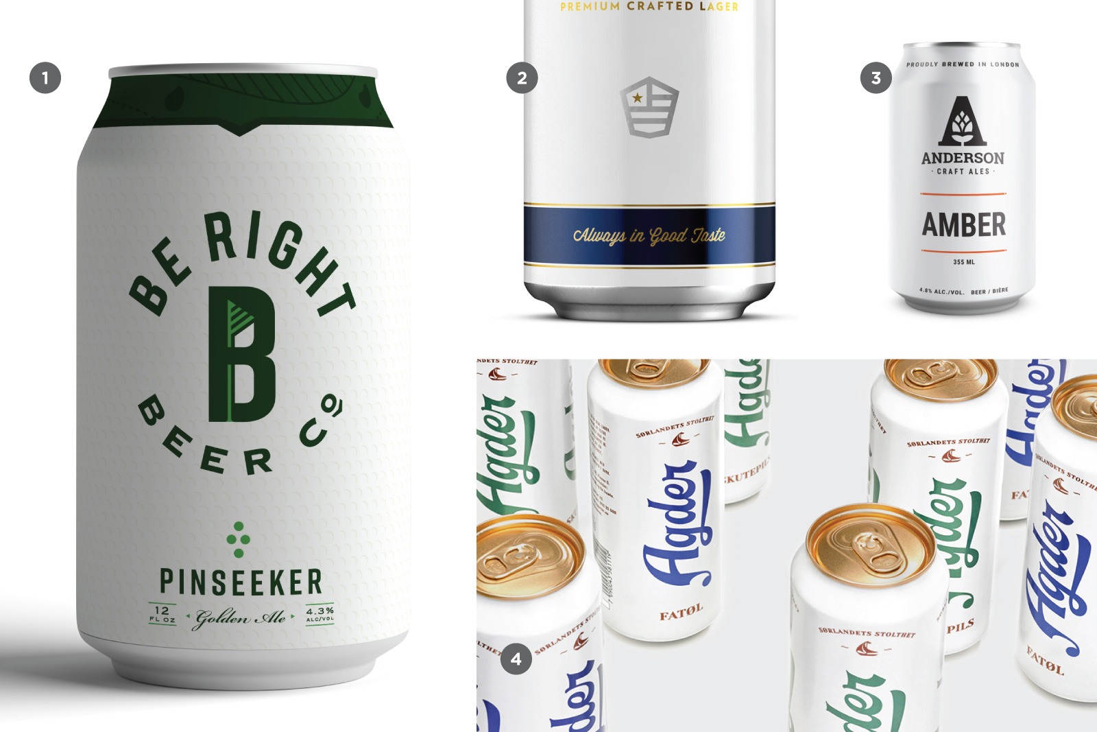 Some examples include 1. Be Right Beer Co, 2. House Beer, 3. Anderson Craft Ales, 4. Agder Bryggeri. Source:  CODO Design