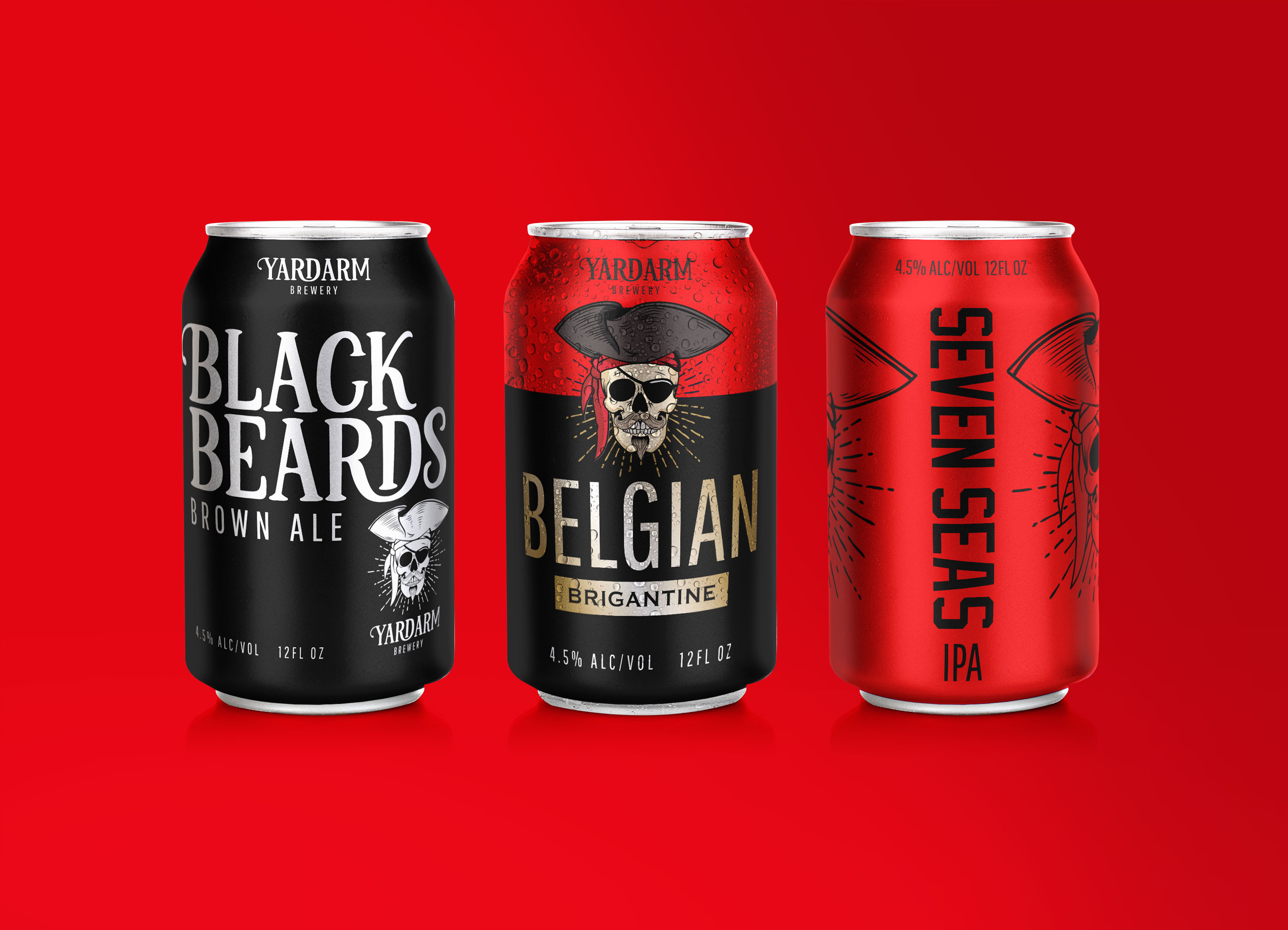 Concept designs for Yardarm Brewery packaging