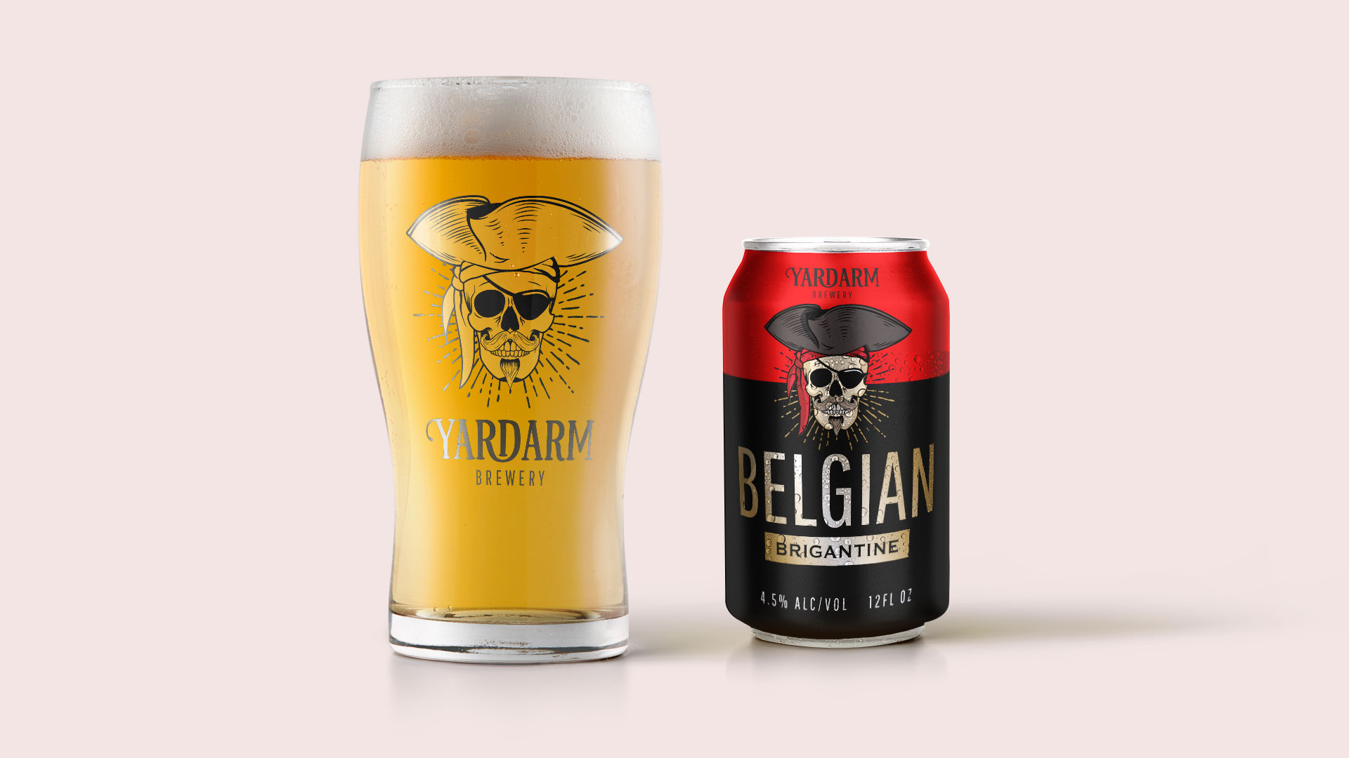 Yardarm Brewery pint glass and Belgian Brigantine can concept