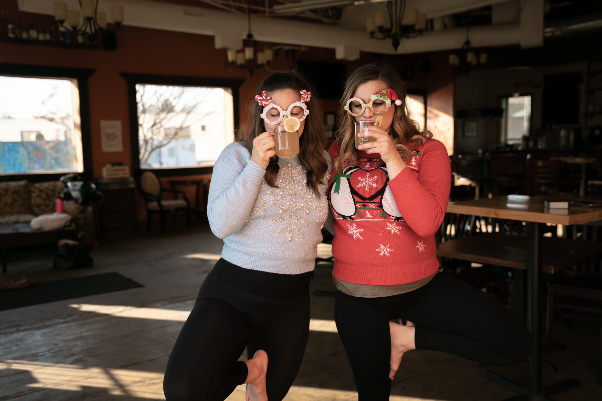 Come to our Ugly Sweater Christmas yoga class at  Du Nord ! Saturday, December 22 at 11:00 AM. Tickets available at  ombrewers.com .