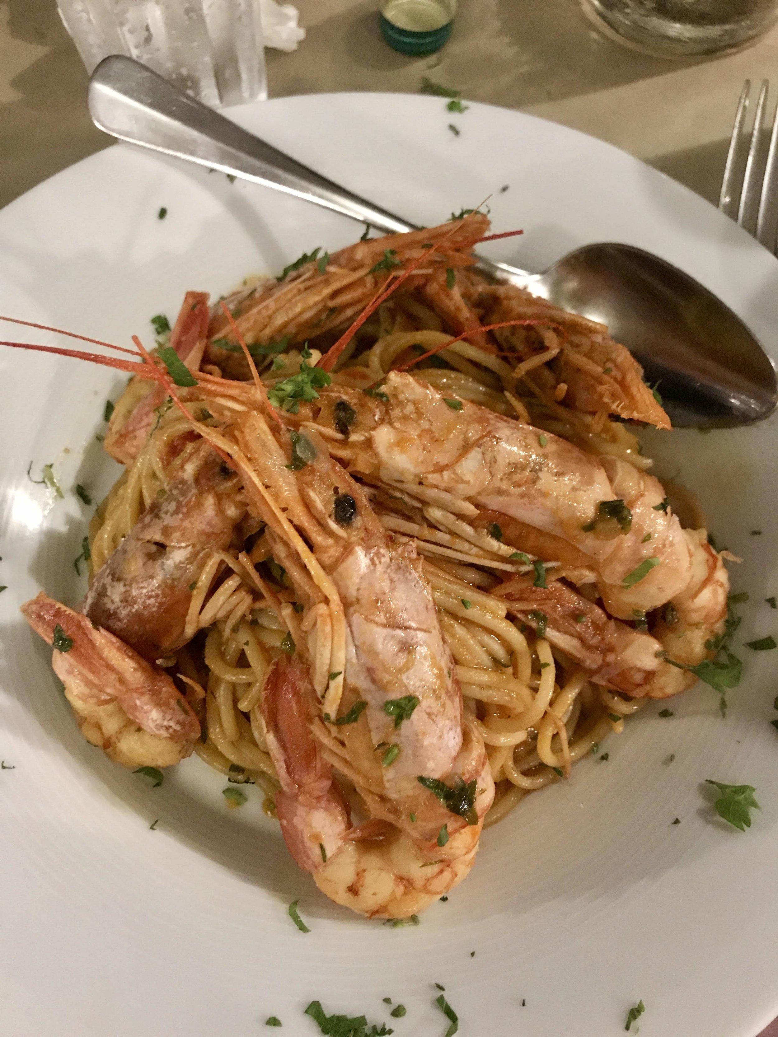 My amazing last dinner: shrimp spaghetti.