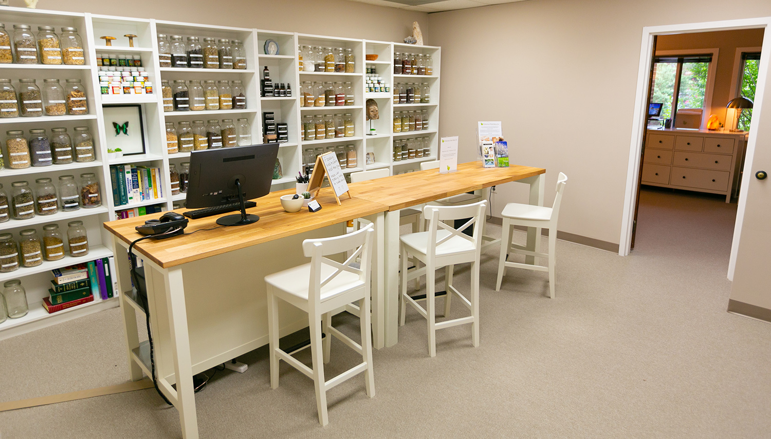 Our friendly waiting area... pull up a chair, have a cup of tea and learn about herbs.