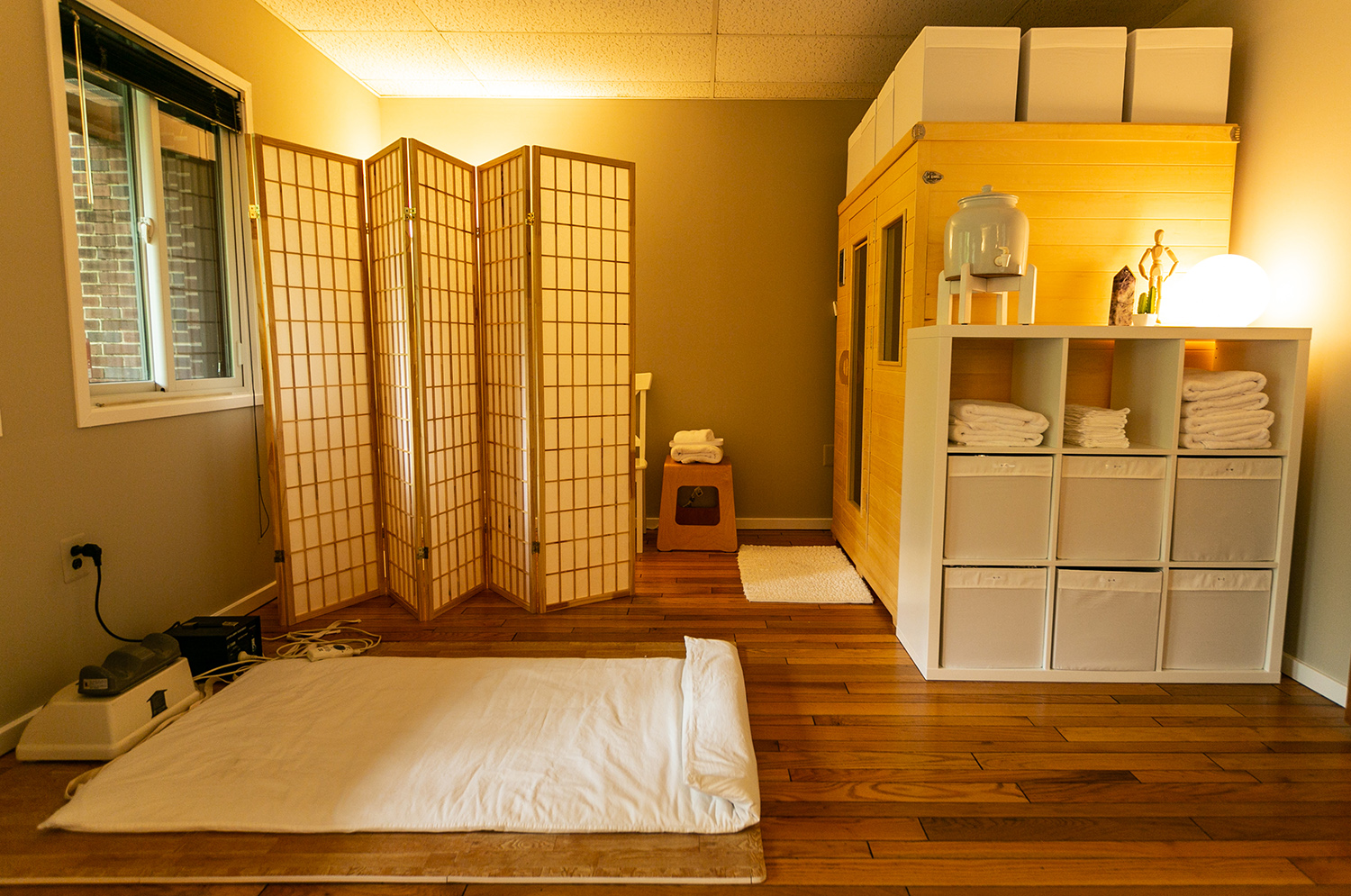 Our detox space with infrared sauna and Chi Machine.