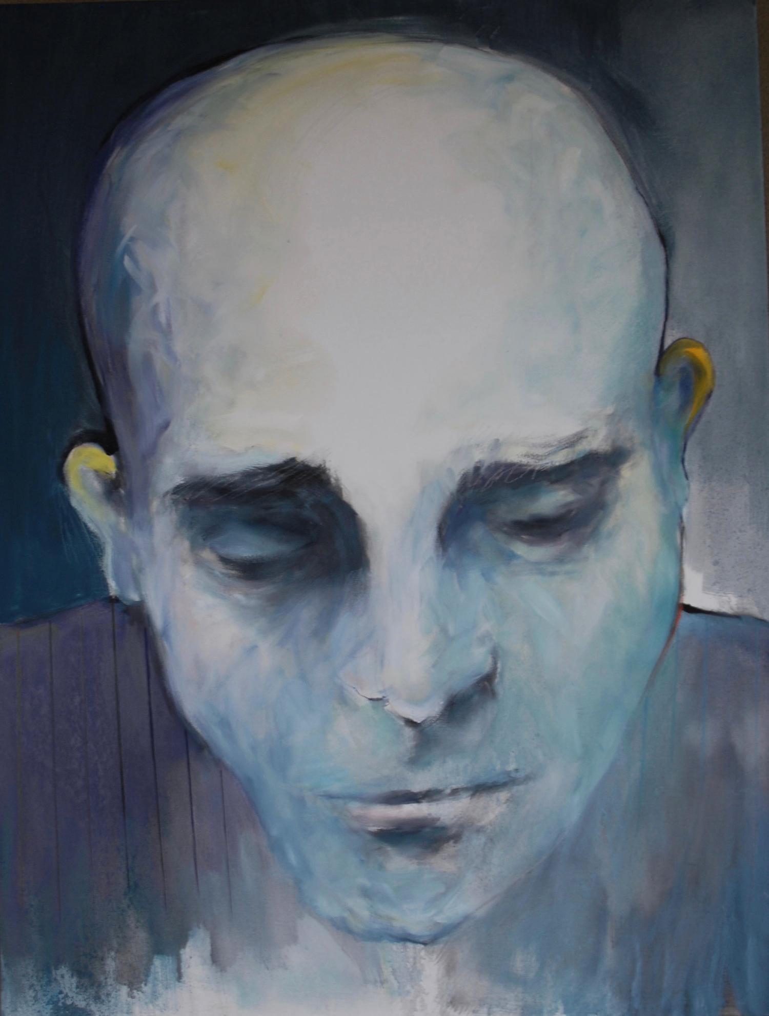 MAN IN A PINSTRIPED SHIRT