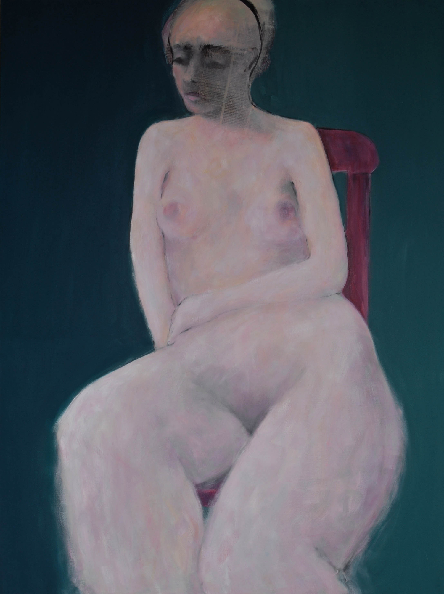 WOMAN ON A RED CHAIR