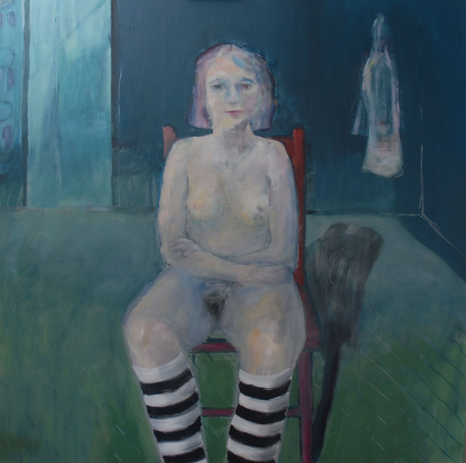WOMAN WITH STRIPED STOCKINGS