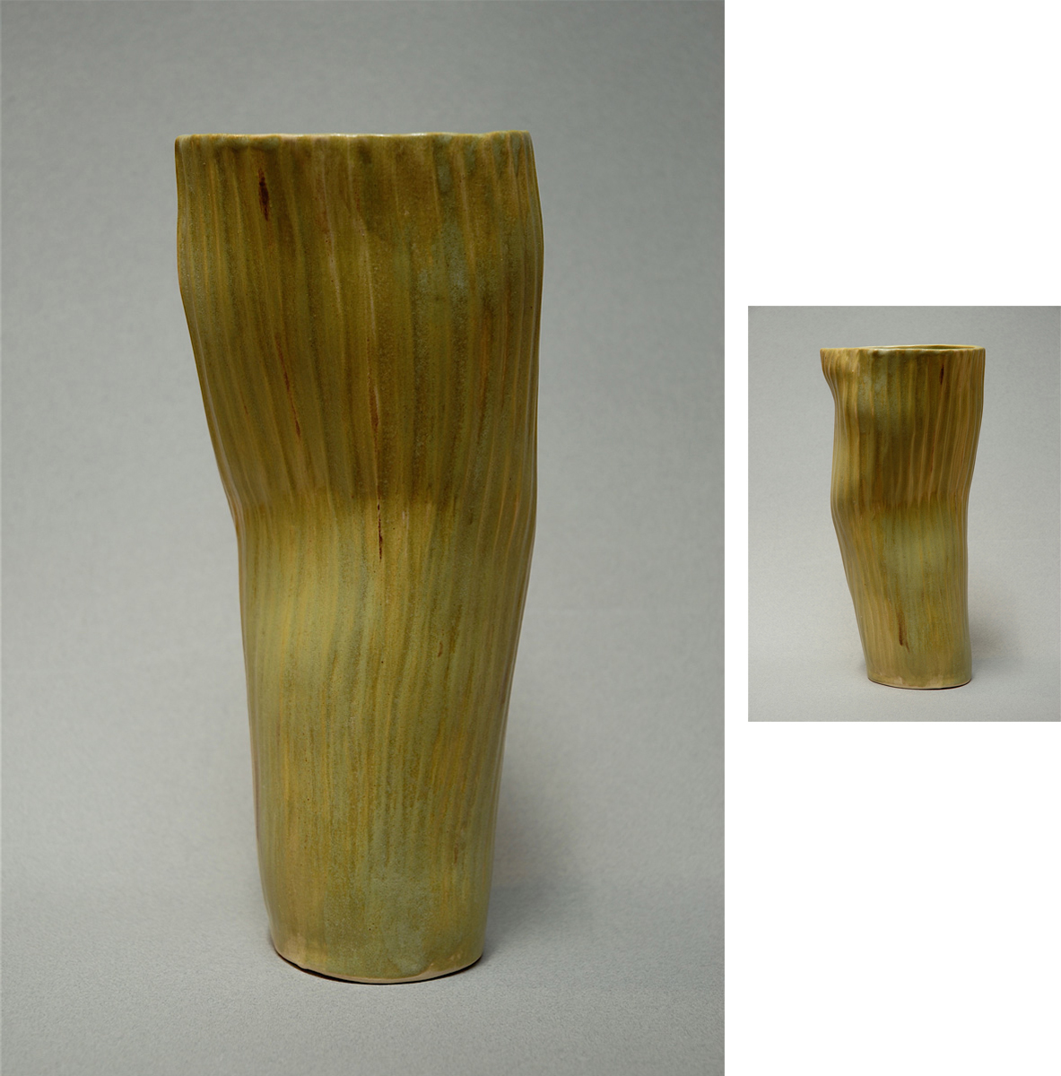 GREEN RIBBED VESSEL | 14 inches SOLD