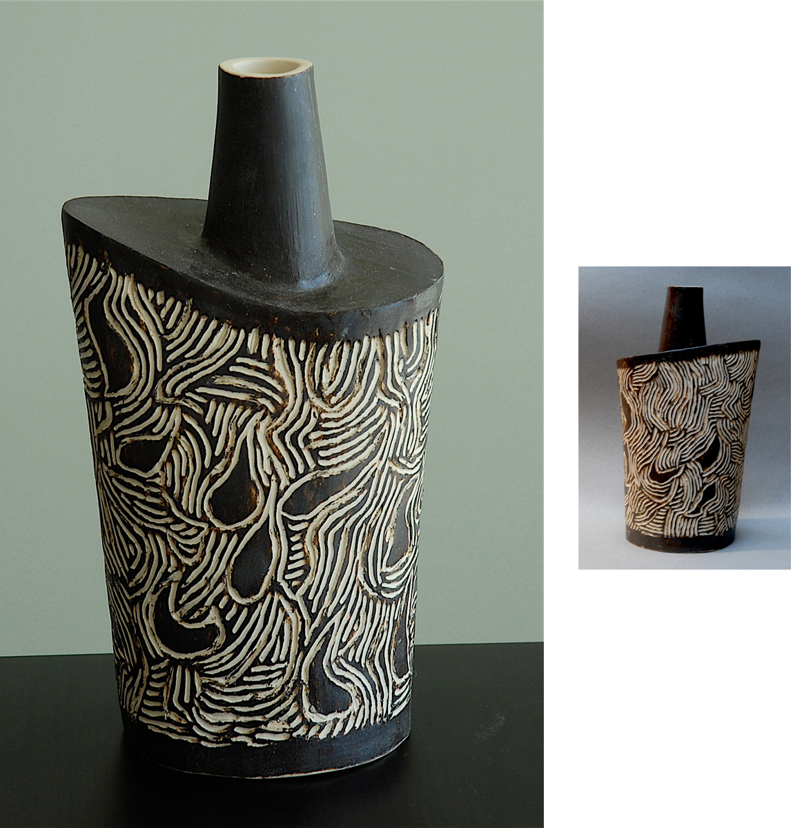 INCISED BLACK FLASK | 10 inches