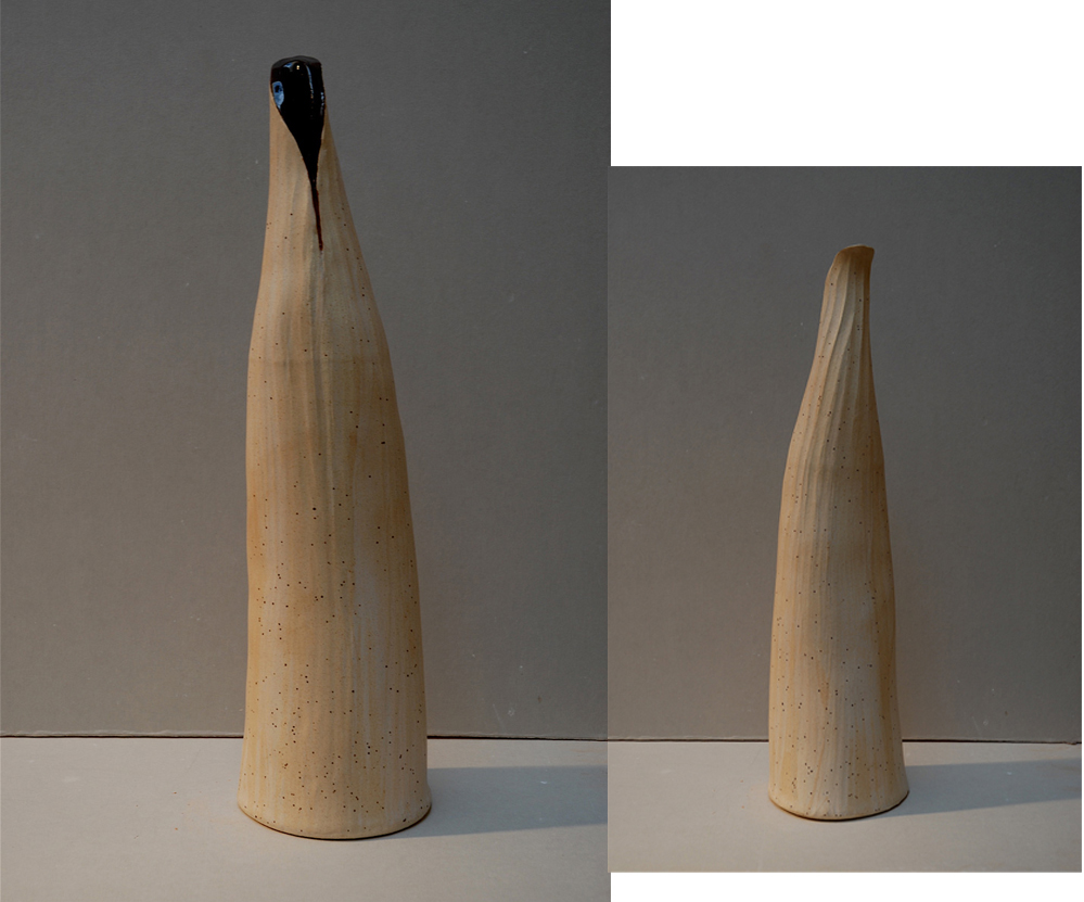 WHITE RIBBED NARROW NECK VESSEL