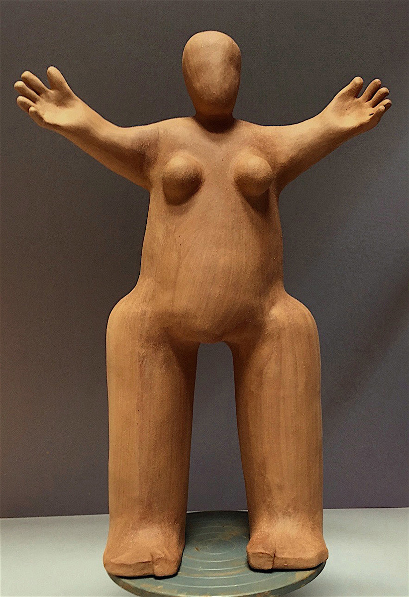 OPEN WOMAN WITH BIG LEGS - GREENWARE