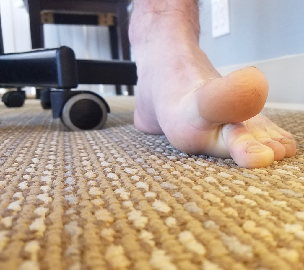 Big Toe Extension - Drive little toes into floor and lift big toe up. Keep little toes down. MODIFY by using your hands to hold the little four toes down and pull big toe up if need be.