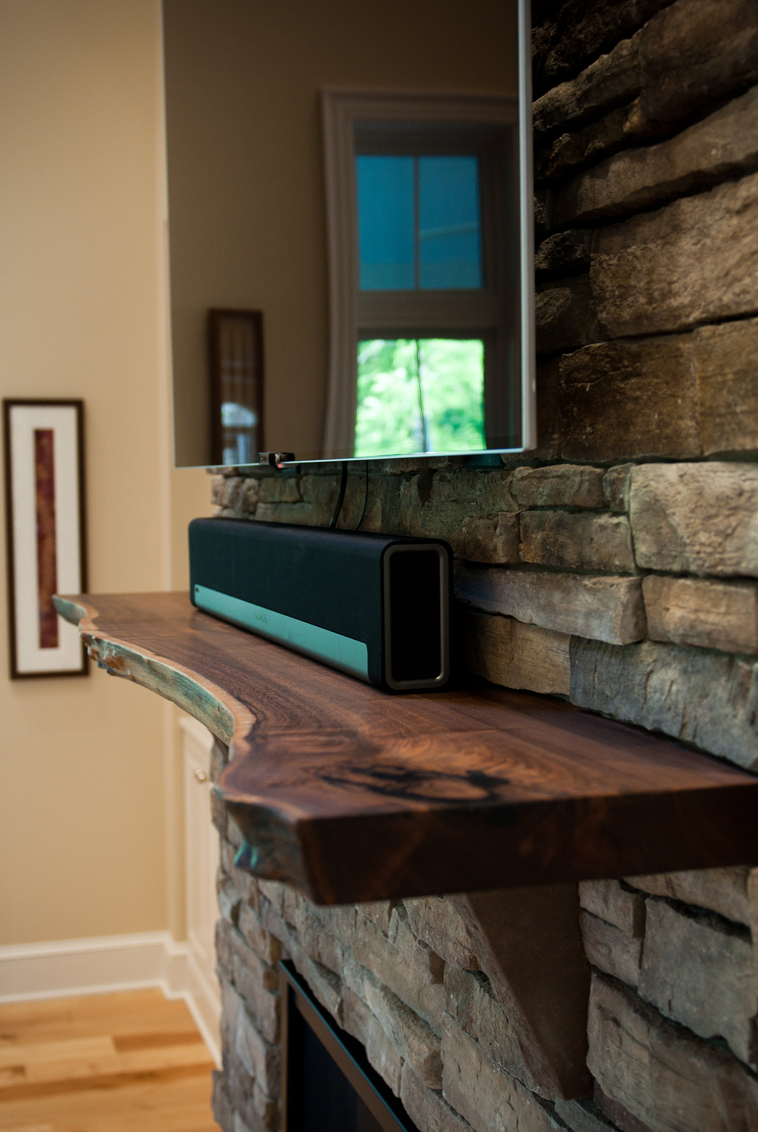architectural feature, custom walnut mantle