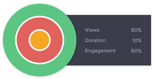 Our HealthScores give you an immediate overview of how your video is performing in Facebook, Twitter, Youtube, Wistia or Brightcove.