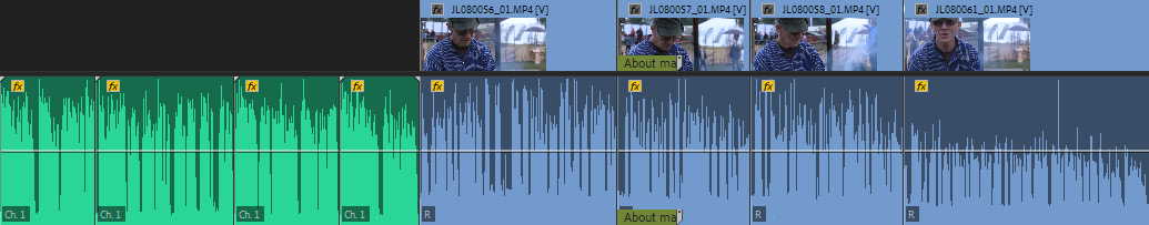 Normalized dialogue audio in a timeline
