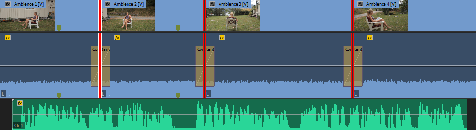 You can now see that the ambience levels (blue audio track) are evenly at the same level.