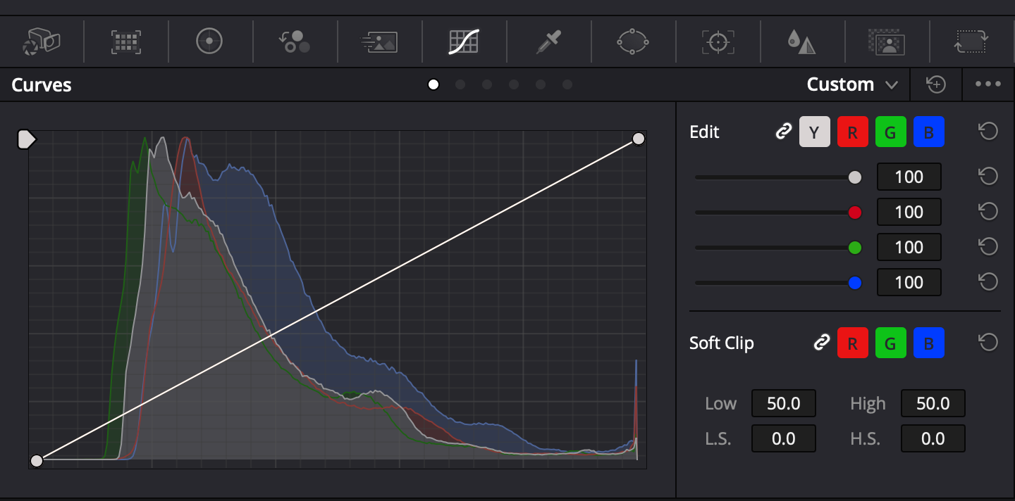 Histograms can now be viewed above each of the Custom Curves.