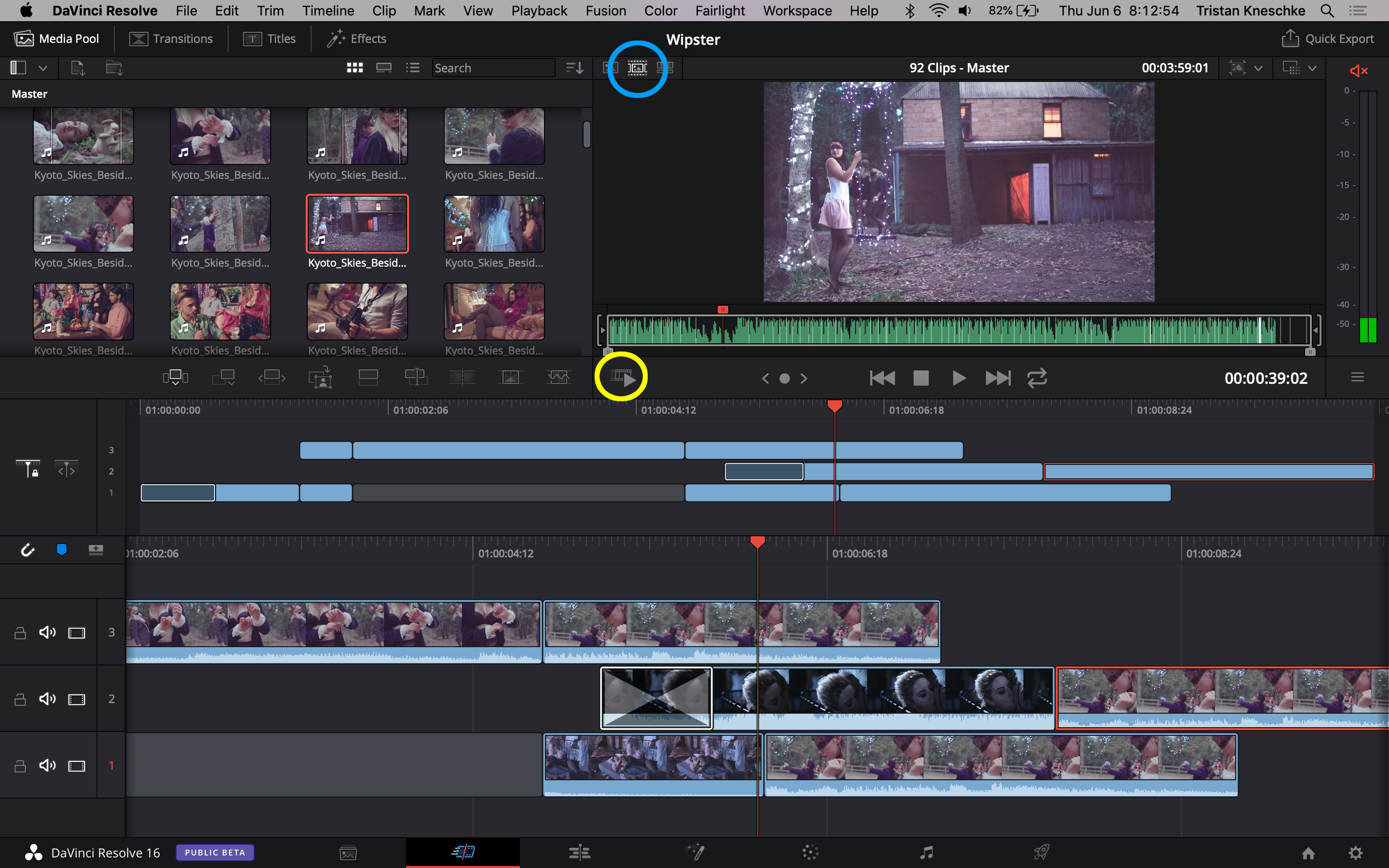 The Source Tape mode (circled in blue) loads all footage into the source monitor as if it were a single clip, allowing for an easy macro assessment of an entire shoot. The Fast Review button (circled in yellow) speeds through the entire program.