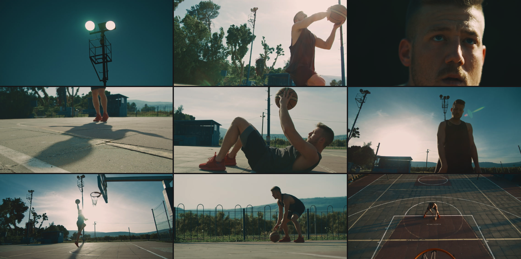 """This """"Basketball at Sunset"""" collection by Filmmaker, Ami Bornstein, tells a story in the same scene by using a variety of angles and shots."""
