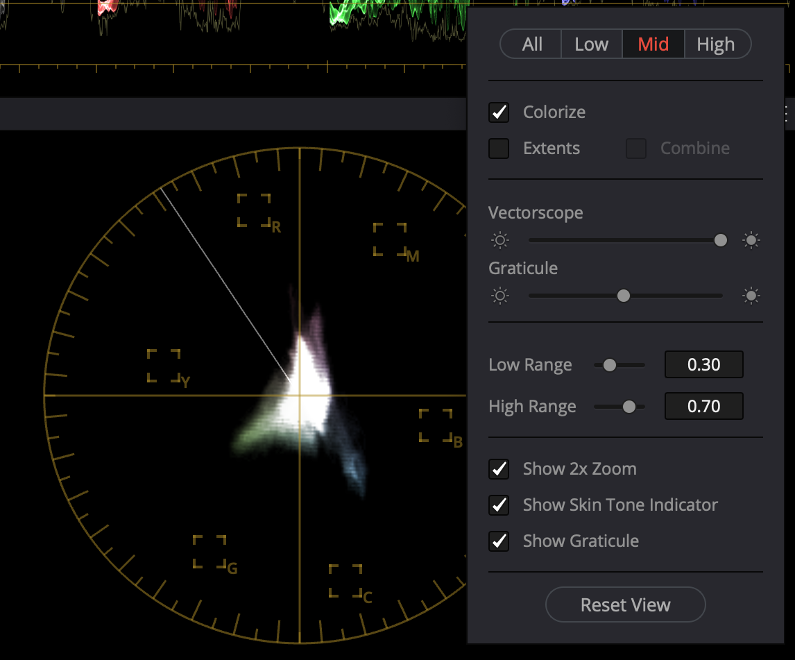 The vectorscope controls allow for selecting the low, mid, or high range of the image, as well as setting the low and high range.
