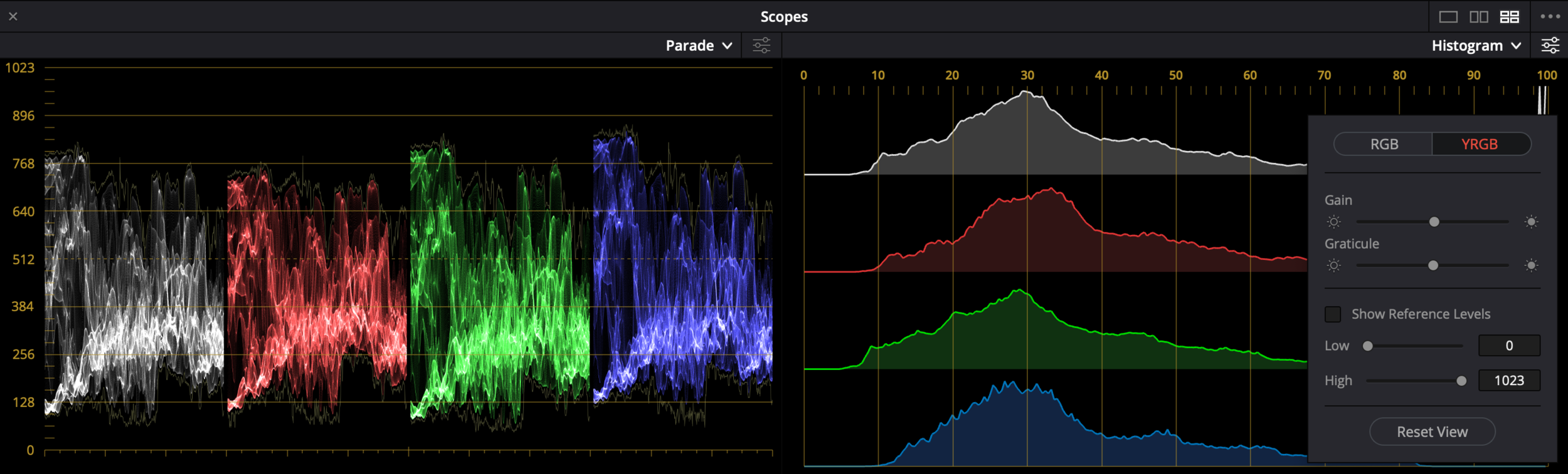 YRGB modes are available for the parade and histogram, and YCbCr is available for the parade.