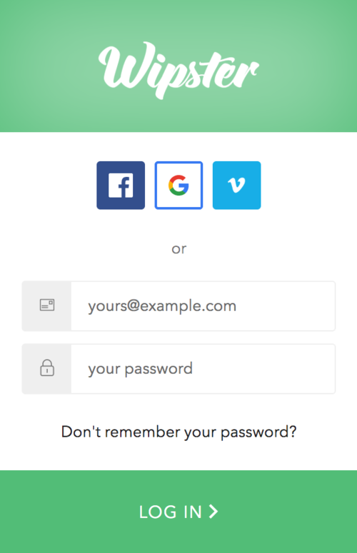 Wipster's new  login