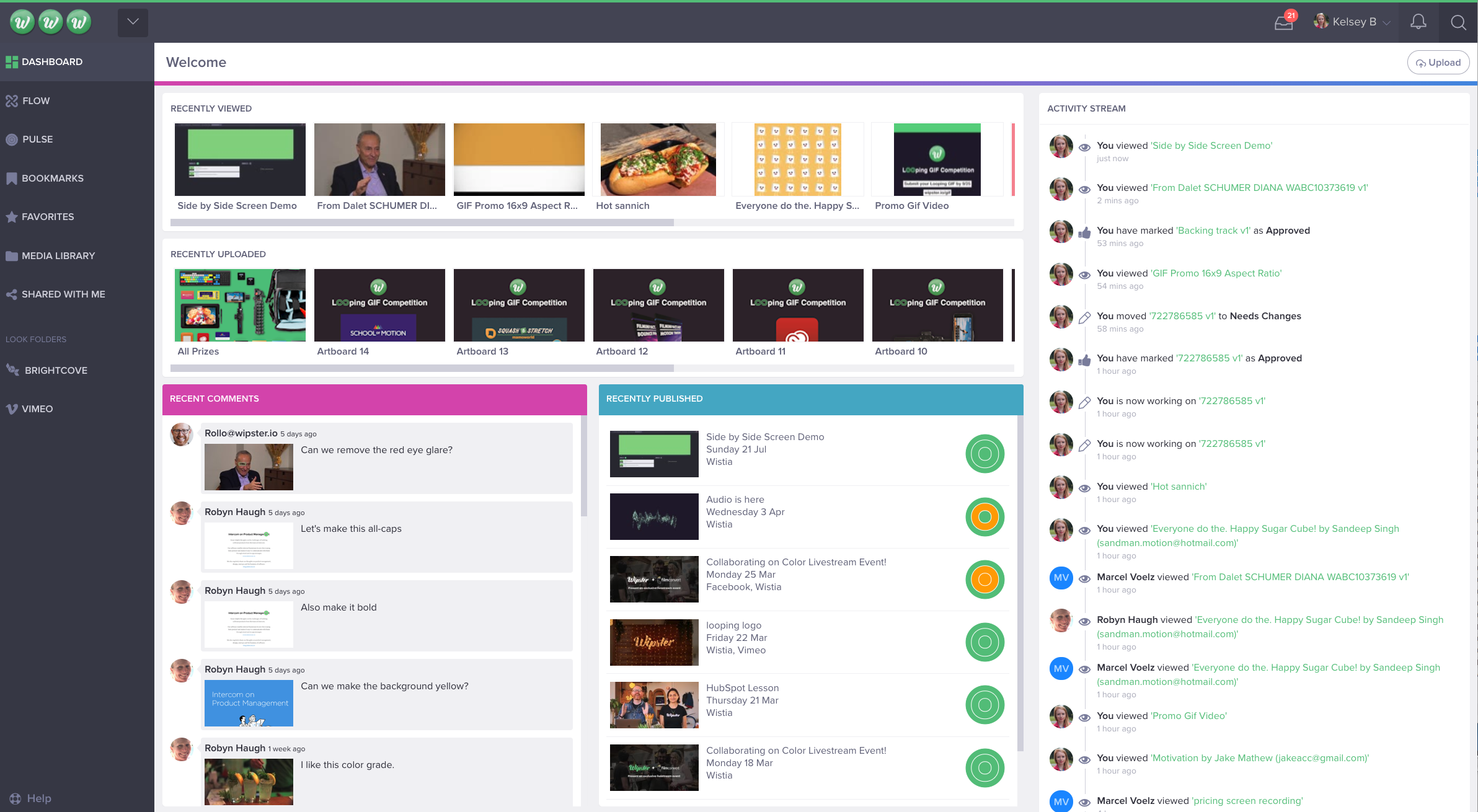 This is the Dashboard view. On the right, you can see your activity stream.