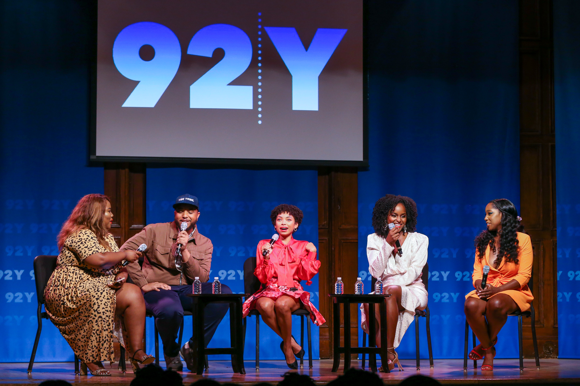 DWP Panel (l to r: Sylvia Obell, Justin Simien, Logan Browning, Antoinette Robertson, and Ashley Blaine Featherson) Photo Credit: Rod Morata/Michael Priest Photography