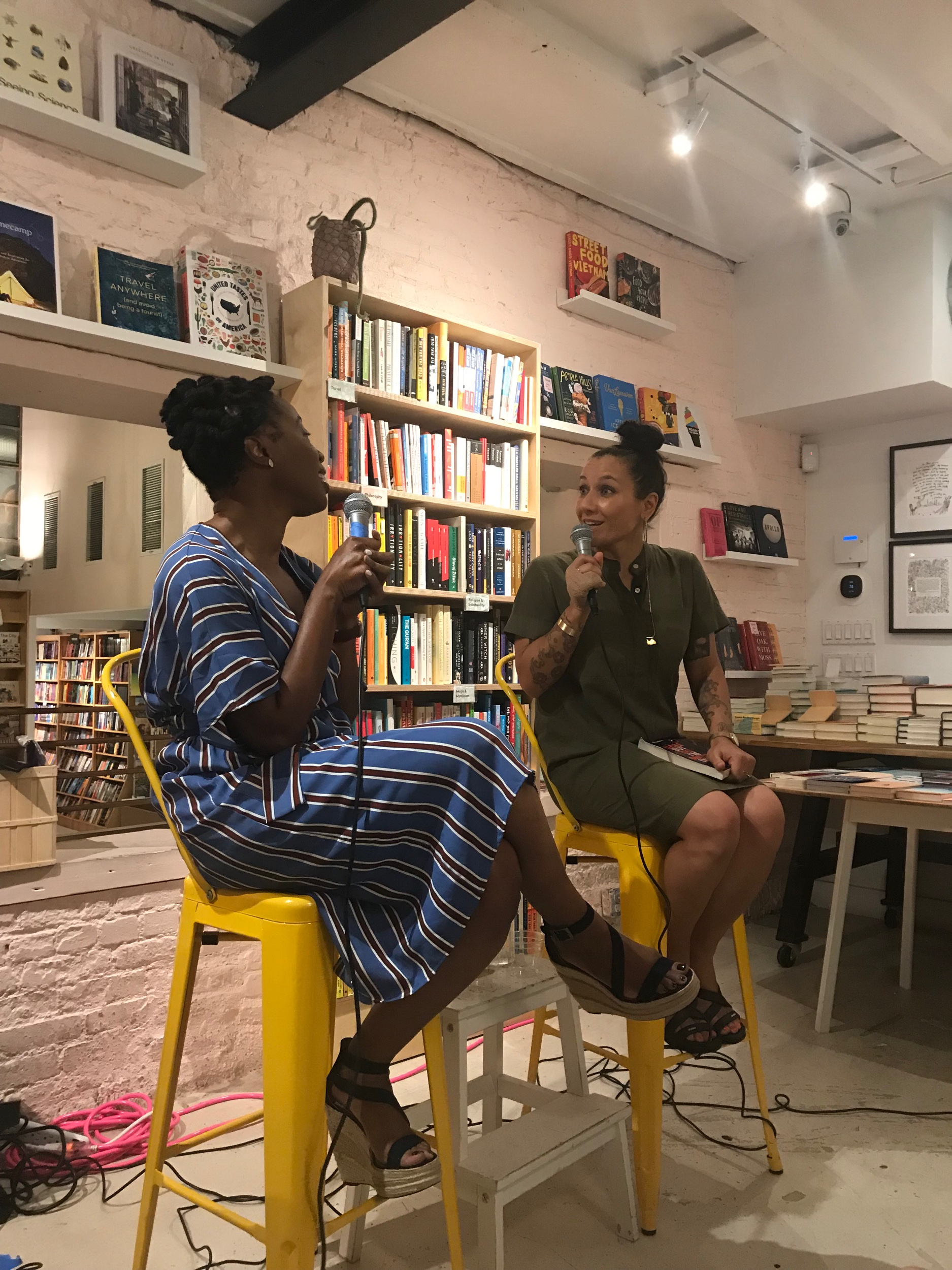 Bassey Ikpi and Melissa Febos in conversation at Books Are Magic in Brooklyn on August 21st. Photo Credit: Storm Jenkins