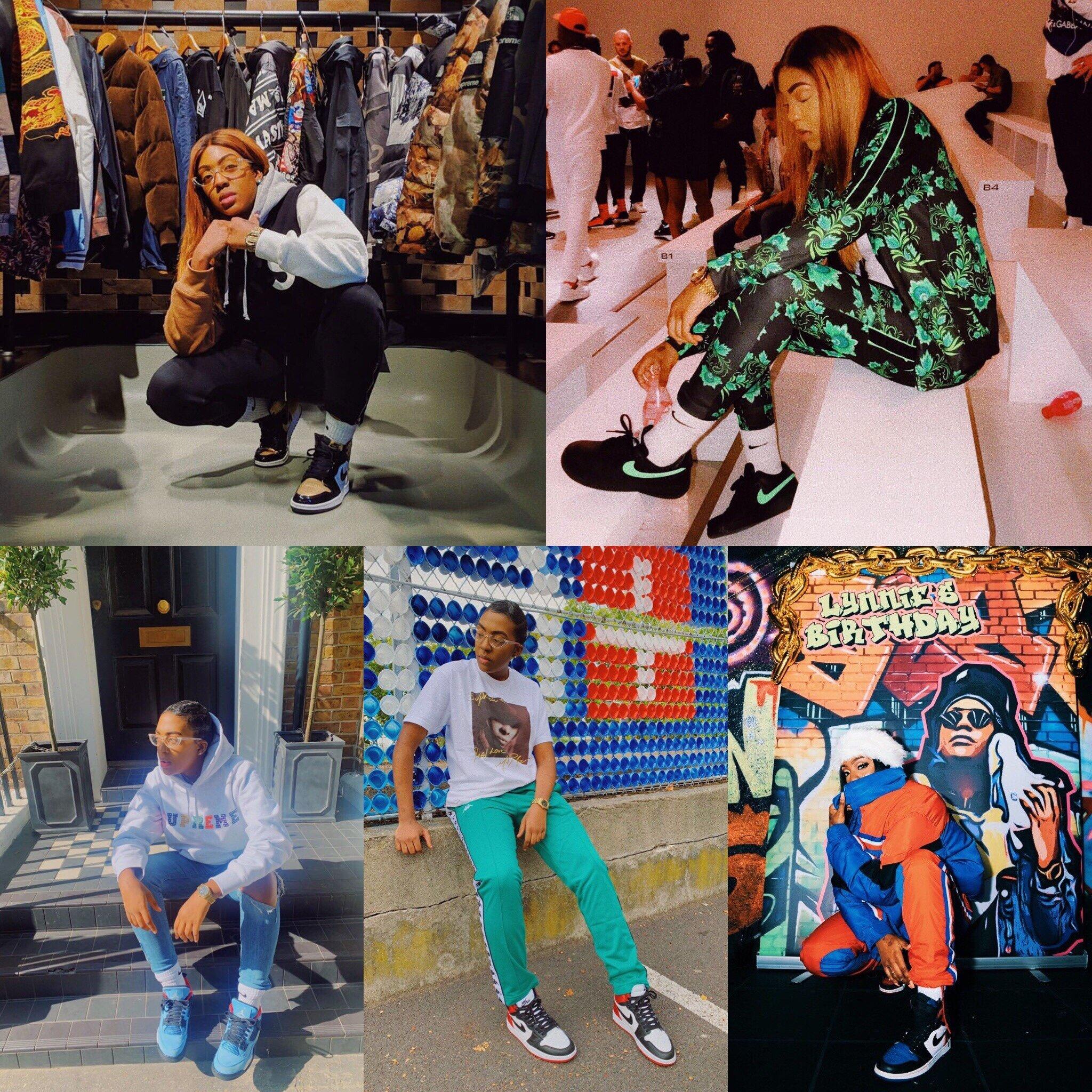 Elle Sneaks reppin' all the latest heat! Top Left : AJ1 Gold Toe, AF1 low, AJ 4 Cactus, AJ 1 Satin, AJ 1 Top 3 Photo Credit: Elle Sneaks Instagram page
