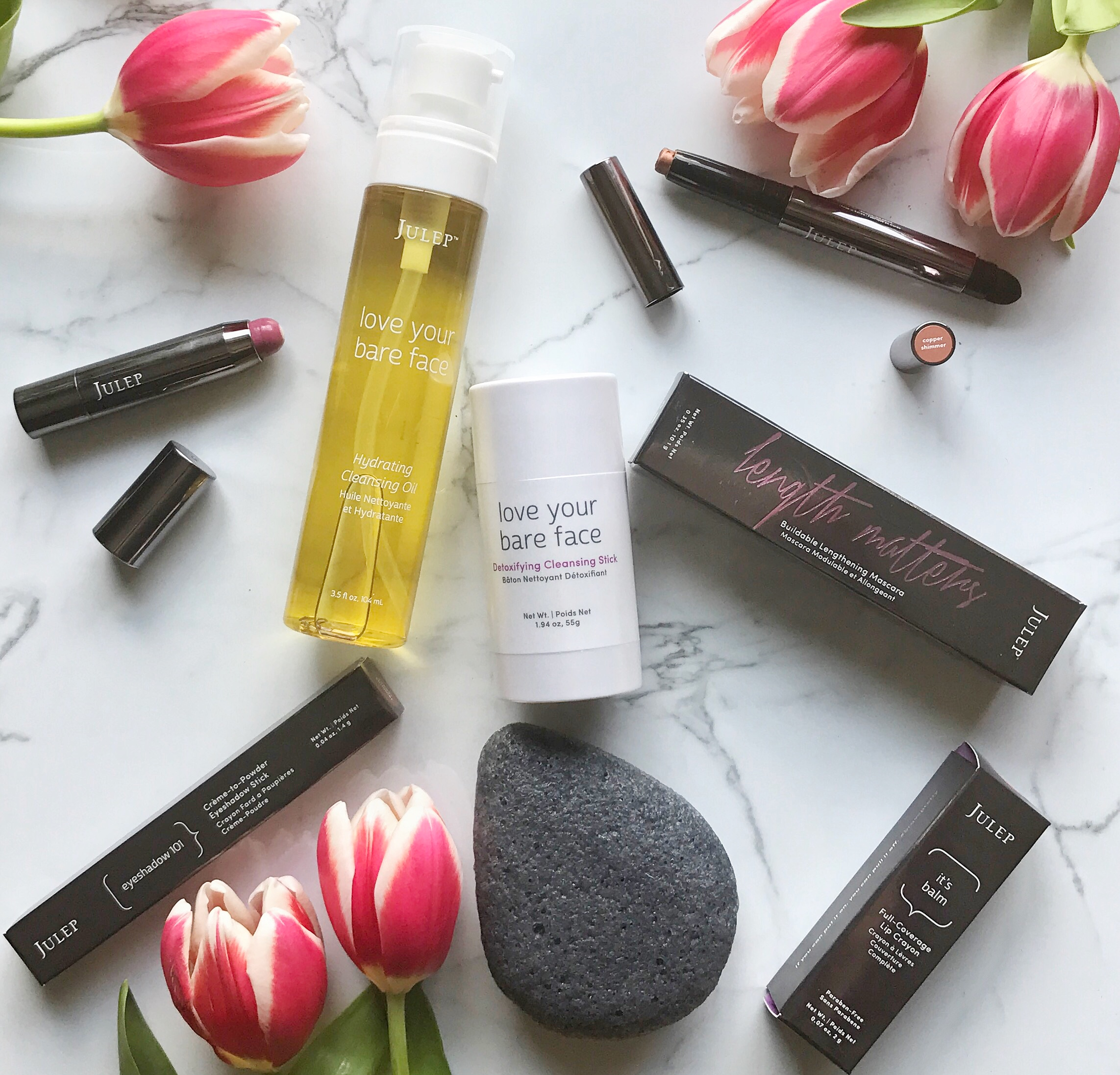 Love Your Bare Face Hydrating Cleansing Oil    //    Love Your Bare Face Detoxifying Cleansing Stick   //    Charcoal Konjac Sponge    //   Lip Crayon    //    Mascara    //    Eyeshadow Stick