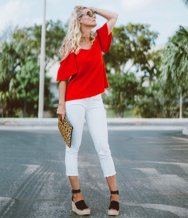 Cold-Shoulder Top   //   Capri White Jeans   //   Leopard Clutch   //   Espadrille Wedges   //   Sunglasses   //   Choker   //   Watch   //   Styling Wand   //   Finishing Spray   //   Texturizing Spray