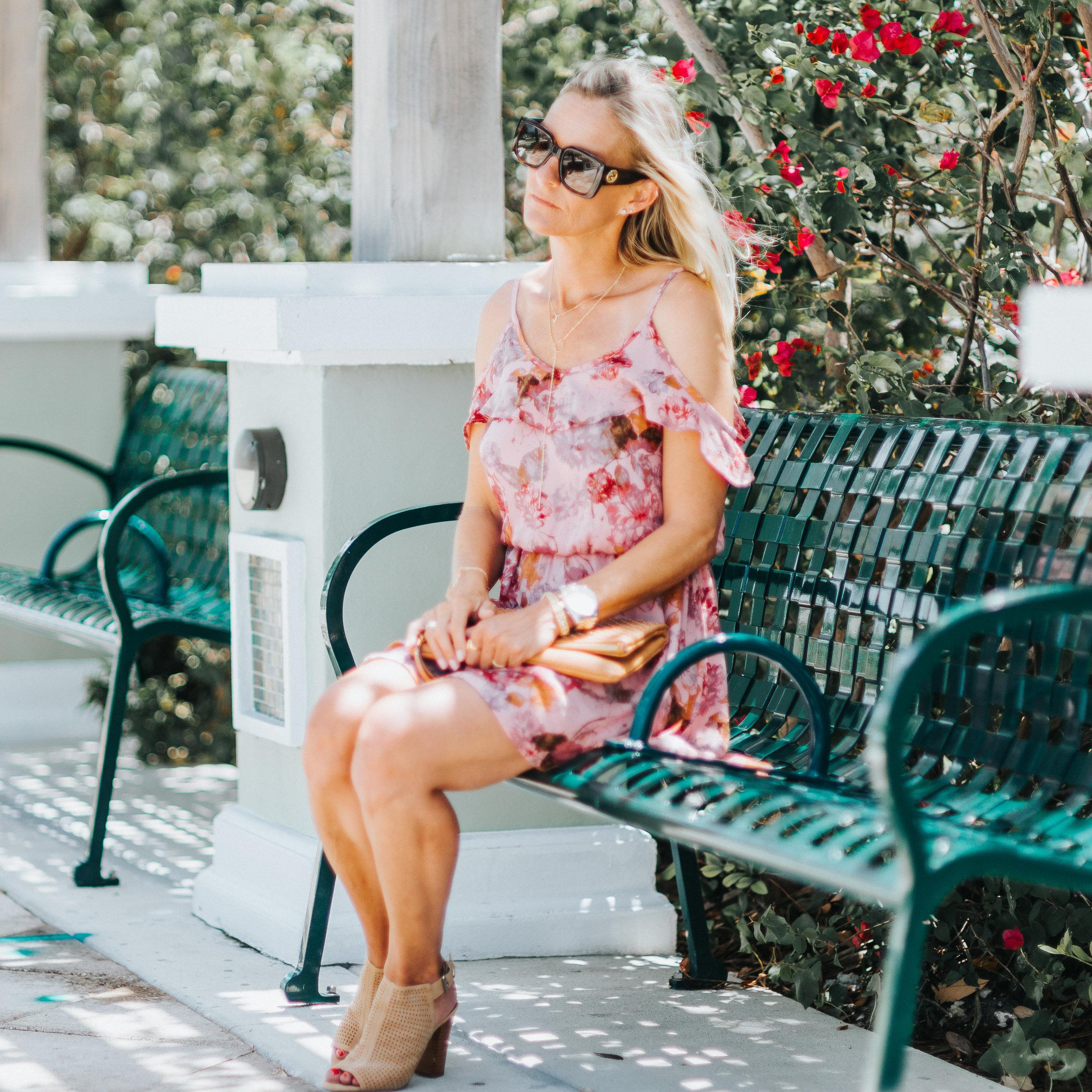 Photos by Gino Difarnecio ~   www.ginodifarnecio.com   //   @gdifarnecio   (Instagram)   Floral Dress (  SIMILAR   and   SIMILAR  ) //   Booties   //   Watch   //   Sunglasses   //   Bracelet   // Clutch (  SIMILAR  ) //   Initial Necklace   //   Lariat Necklace   //   Ring