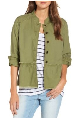 How adorable is this   Peplum jacket  ? It comes in a few colors, but Army Green is my fave in this one! It's under $50 too! Can't beat that!